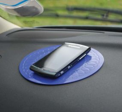 Tenura Silicone Rubber Anti Slip Circular Mat/Coaster (14 cm) Blue