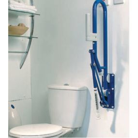 Steel Fold Up Toilet Rail - Blue