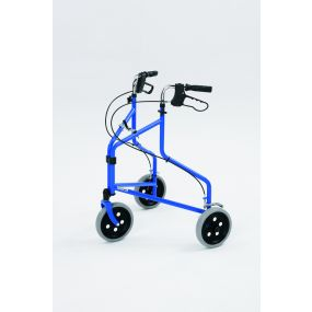 Steel Tri - Wheel Walker With loop Brakes - Blue