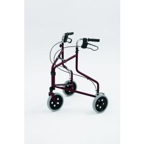 Steel Tri - Wheel Walker With loop Brakes - Red