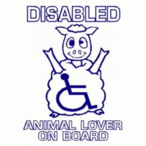 Disabled Animal Lover On Board - Car Sticker 28
