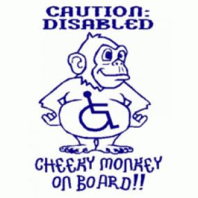 Caution: Disabled Cheeky Monkey On Board!! - Car Sticker 30