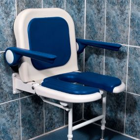 Deluxe Horse Shoe Shower Chair With Back & Arms - Blue