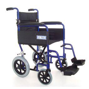 Folding Aluminium Transit Wheelchair - Blue 18