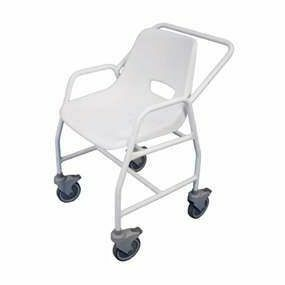 Mobility Smart Mobile Shower Chair with Castors Adjustable Height - 2 Brakes