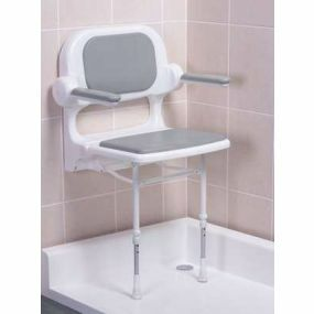 Standard Fold Up Shower Seat Back & Arms - Grey