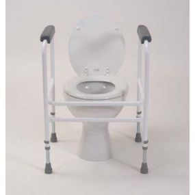 Free Standing Adjustable Toilet Surround - Padded Arms