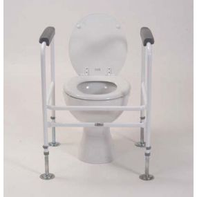Floor Fixed Adjustable Toilet Surround - Padded Arms