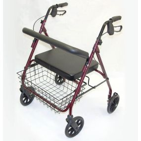 Bariatric Super Heavy Duty Rollator Walker - Ruby Red
