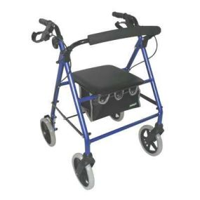 Aidapt Lightweight Rollator - Blue (With Folding Back Rest)
