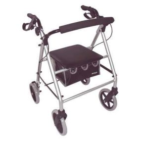 Aidapt Lightweight Rollator - Silver (With Folding Back Rest)