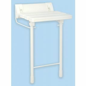Aluminium & Plastic Slatted Wall Mounted Shower Seat - White (With Legs)