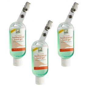 Antibacterial Hand Gel Bottle with Clip - 50ml - Triple Pack