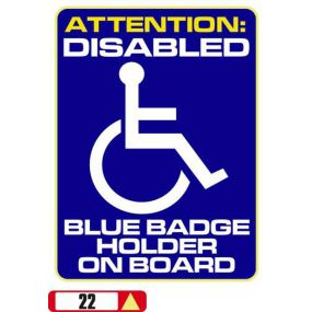 Sticker Haus Attention: Disabled Blue Badge Holder on Board Sticker no 22