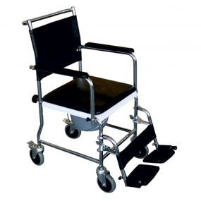 Mobile Chrome Commode Chair Full Back (2 Brakes)