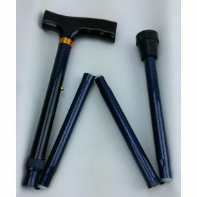 Folding Walking Stick T Handle - Dark Blue Dotts (29 - 33