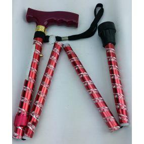 Folding Walking Stick T Handle - Engraved Red (32 - 36