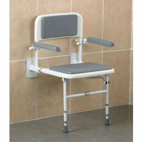 Padded Wall Mounted Shower Seat with Arms
