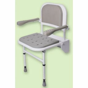 Folding Shower seat with legs, padded seat, back and arms