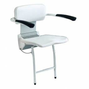 Futura Wall Mounted Shower Seat With Backrest - Armrests - Legs