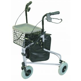 Lightweight Tri Walker with Bag and Basket - Silver