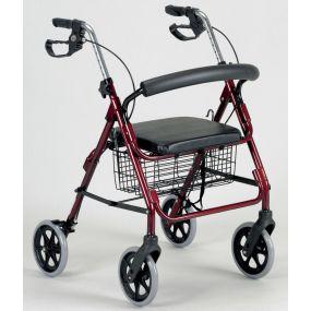 Four Wheeled Rollator - Ruby