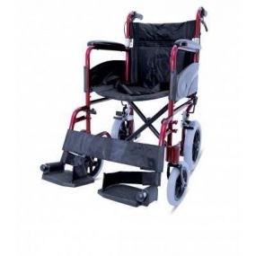 Folding Aluminium Transit Wheelchair - With Attendant Brakes - Red - 19