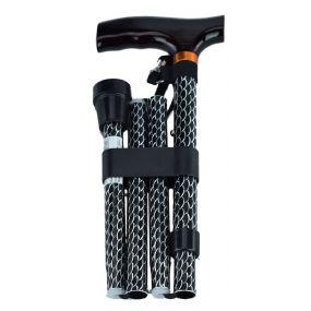 Folding Walking Stick T Handle - Black Wave (32 - 37