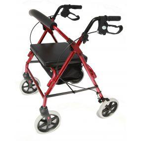 Aluminium Four Wheeled Rollator - Red