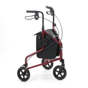 Lightweight Aluminium Folding Tri Walker (With Bag) - Ruby Red