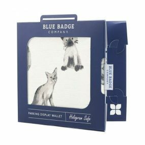 Cloth Blue Badge Wallet - Meow