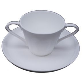 Two Handled Bone China Cup and Saucer