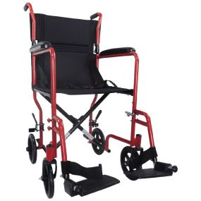 Steel Compact Transport Wheelchair - Red