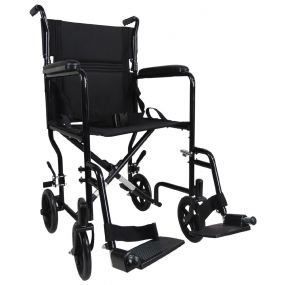 Steel Compact Transport Wheelchair - Black