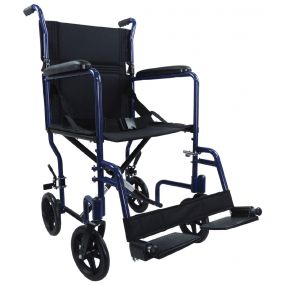 Aluminium Compact Transport Wheelchair - Blue