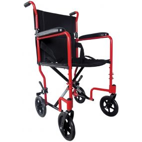 Aluminium Compact Transport Wheelchair - Red