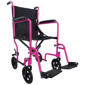 Aluminium Compact Transport Wheelchair - Pink