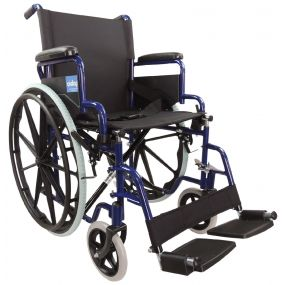 Self Propelled Steel Transit Chair - Blue