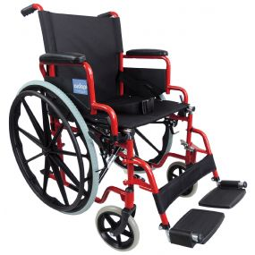 Self-Propelled Steel Wheelchair - Red