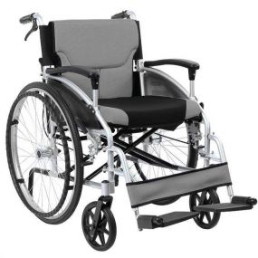 D Lite Folding Aluminium Self Propelled W/chair Attendant Handbrakes - Silver (20