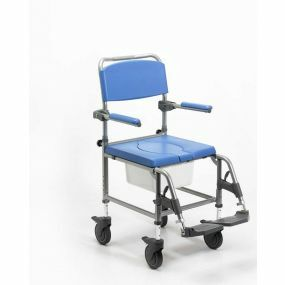 Aluminium Attendant Commode & Shower Chair - Adjustable Height