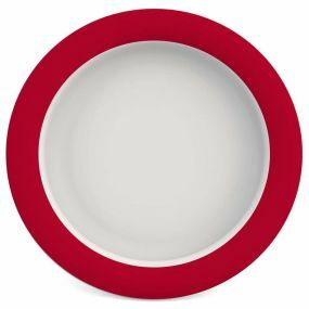 Ornamin Plate With Sloped Base - 26cm - Red & White