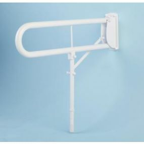 Double Arm Hinged Support Rail With Leg - White Stainless Steel (76cm)