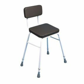 Perching Stool - Adjustable Height (Padded Back in Brown)