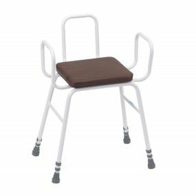 Perching Stool - Adjustable Height (Tubular Arms and Back in Brown)