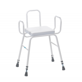 Perching Stool - Adjustable Height (Tubular Arms and Back in White)