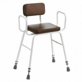 Perching Stool - Adjustable Height (Tubular Arms Padded Back in Brown)