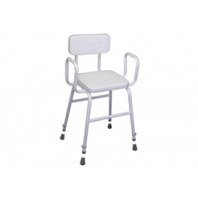 Perching Stool - Adjustable Height (Tubular Arms Padded Back in White)