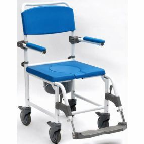 Aston Wheeled Alloy Shower / Commode Chair - Heavy Duty