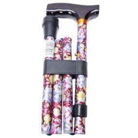 Folding Walking Stick T Handle - Blossom Red (33 - 37